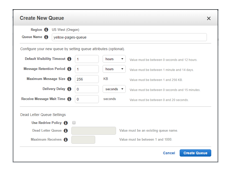 Creating AWS queue